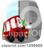 Cartoon Car Character Opening A Garage With A Remote