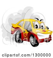 Clipart Of A Cartoon Drifting Car Character Spinning Its Tires Royalty Free Vector Illustration