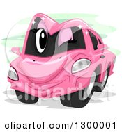 Clipart Of A Cartoon Pink Car Winking Royalty Free Vector Illustration