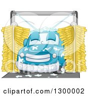 Clipart Of A Cartoon Relaxed Blue Car In A Wash Royalty Free Vector Illustration
