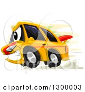 Clipart Of A Cartoon Aggressive Race Car Royalty Free Vector Illustration