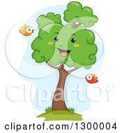 Clipart Of A Cartoon Lush Happy Tree With Birds Royalty Free Vector Illustration by BNP Design Studio