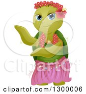 Poster, Art Print Of Cartoon Turtle Dancing With A Hula Skirt