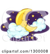 Clipart Of A Pleasant Sleeping Crescent Moon With Clouds And Stars Royalty Free Vector Illustration
