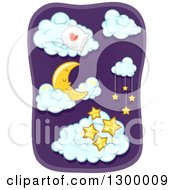 Clipart Of A Sleeping Crescent Moon With A Pillow And Stars In The Clouds Royalty Free Vector Illustration