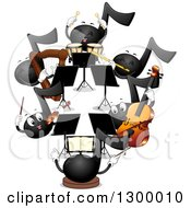 Clipart Of A Music Note Orchestra Royalty Free Vector Illustration by BNP Design Studio