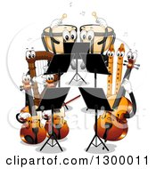 Clipart Of A Cartoon Band Of Instruments Playing Themselves Royalty Free Vector Illustration by BNP Design Studio