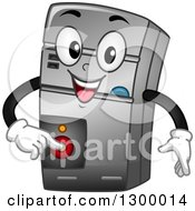Clipart Of A Cartoon CPU Pushing A Power Button Royalty Free Vector Illustration