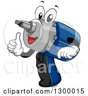 Clipart Of A Cartoon Power Drill Impact Wrench Giving A Thumb Up Royalty Free Vector Illustration by BNP Design Studio