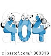 Clipart Of Blue Error 404 Characters Royalty Free Vector Illustration