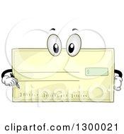 Cartoon Bank Check Character Holding A Pen