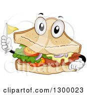 Clipart Of A Cartoon Clubhouse Sandwich Character Holding A Toothpick Flag Royalty Free Vector Illustration