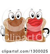 Clipart Of Cartoon Happy Bread Characters With Peanut Buttery And Jelly About To Make A Sandwich Royalty Free Vector Illustration