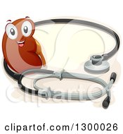 Clipart Of A Cartoon Kidney Character With A Giant Stethoscope Royalty Free Vector Illustration