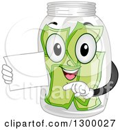 Clipart Of A Cartoon Tip Jar Character Holding A Card Royalty Free Vector Illustration by BNP Design Studio