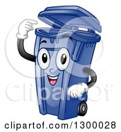 Clipart Of A Cartoon Blue Trash Can Character Pointing Inside Royalty Free Vector Illustration