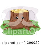 Clipart Of A Cartoon Sad Crying Tree Stump Royalty Free Vector Illustration