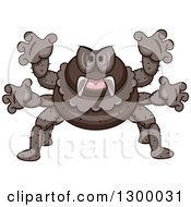 Clipart Of A Cartoon Attacking Spider Royalty Free Vector Illustration by BNP Design Studio