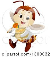 Clipart Of A Cartoon Happy Bee Doctor Flying With Honey Royalty Free Vector Illustration by BNP Design Studio