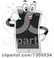 Clipart Of A Cartoon Smart Phone Character Gesturing Call Me Royalty Free Vector Illustration