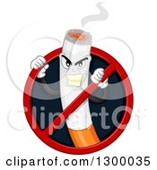 Clipart Of A Tough Cigarette Character Trying To Break Through A No Smoking Sign Royalty Free Vector Illustration