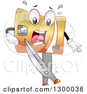 Cartoon Credit Card Character Being Cut By Scissors