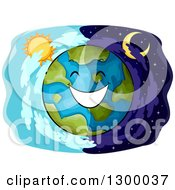 Clipart Of A Happy Planet Earth Over Day And Night Panels Royalty Free Vector Illustration