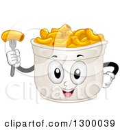Clipart Of A Cartoon Cup Of Macaroni And Cheese Character Royalty Free Vector Illustration by BNP Design Studio