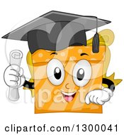 Clipart Of A Cartoon Orange Graduate Gift Holding A Diploma Royalty Free Vector Illustration