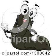 Clipart Of A Cartoon Leech Character With A Stethoscope Royalty Free Vector Illustration by BNP Design Studio