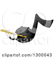 Clipart Of A Cartoon Music Note Character Playing A Flute Royalty Free Vector Illustration by BNP Design Studio