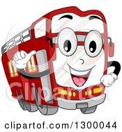 Cartoon Double Decker Bus Character