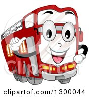Clipart Of A Cartoon Double Decker Bus Character Royalty Free Vector Illustration