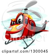 Clipart Of A Grinning Assault Helicopter Royalty Free Vector Illustration