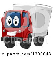 Clipart Of A Cartoon Happy Big Rig Truck Royalty Free Vector Illustration