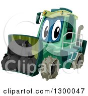 Clipart Of A Cartoon Garbage Compactor Tractor With A Load Royalty Free Vector Illustration by BNP Design Studio