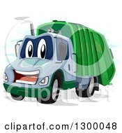 Clipart Of A Cartoon Happy Garbage Truck Royalty Free Vector Illustration by BNP Design Studio