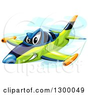 Clipart Of A Tough Fighter Jet Flying Royalty Free Vector Illustration