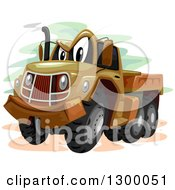 Clipart Of A Cartoon Military Truck Character Royalty Free Vector Illustration