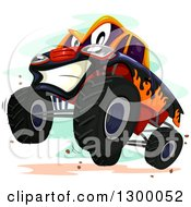 Clipart Of A Cartoon Monster Truck Character Rearing Royalty Free Vector Illustration