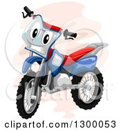 Clipart Of A Cartoon Motocross Bike Character Royalty Free Vector Illustration