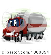 Clipart Of A Cartoon Oil Truck Character Royalty Free Vector Illustration