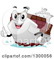 Cartoon Cargo Ship Character Holding A Thumb Up