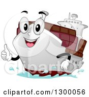 Clipart Of A Cartoon Cargo Ship Character Holding A Thumb Up Royalty Free Vector Illustration