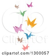 Clipart Of A Mobile Made Of Colorful Origami Paper Cranes Royalty Free Vector Illustration