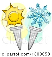 Clipart Of Sun And Snowflake Wnter Summer Torches Royalty Free Vector Illustration
