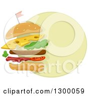 Clipart Of A Cheeseburger On A Green Round Icon Royalty Free Vector Illustration by BNP Design Studio