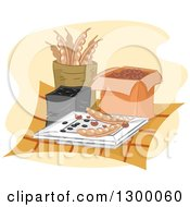 Clipart Of Dried And Stored Seeds Royalty Free Vector Illustration