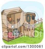 Clipart Of A Cartoon Garden Shed With Tools Boots And Pots Royalty Free Vector Illustration