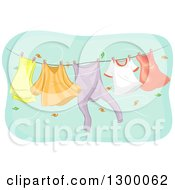 Clipart Of A Clothesline With Appareal Swinging In An Autumn Wind Royalty Free Vector Illustration